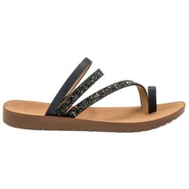 Vinceza svart Flip-flops med Brocade