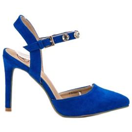 Kylie blå Stilettos med en exponerad häl