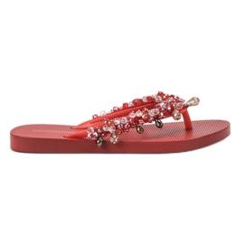 SHELOVET Gummi Flip-flops Med Ornament röd