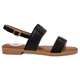Primavera Svarta sandaler med kristaller