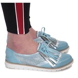 Blå openwork loafers med Pamole fransar