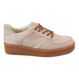 Brun Beige lace-up creepers 7-K3568B