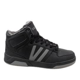 Svarta höga sneakers med päls M667-2