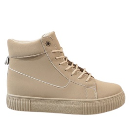 Beige lace-up creepers 892-PA brun