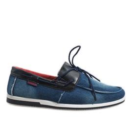 Mörkblå eleganta loafersskor AB108-1 marinblå