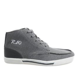 Grå eleganta höga skor F10455