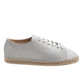 Grå Silver espadrilles laced 831-1
