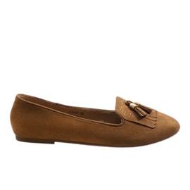 Brun Brown loafers ballerinas med tofsar H7207
