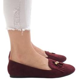 Burgundy loafers ballerinas med fransar H7207