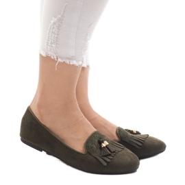 Gröna loafers ballerinas med fransar H7207