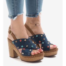 Blå sandaler på plattform 1669