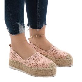 Rosa sneakers espadrilles på plattform 7801-P