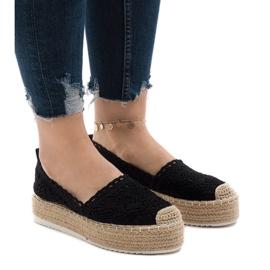 Svarta sneakers espadrilles på plattform 7801-P