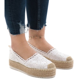 Vita sneakers espadrilles på plattform 7801-P