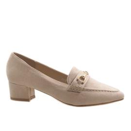 Beige Suede High Heels 7078-P brun