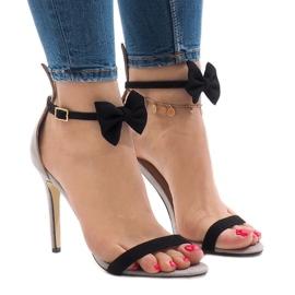 Grå mocka sandaler högklacka ZJ-15P