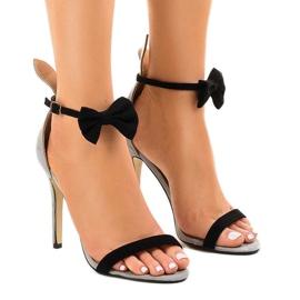 Grå mocka sandaler högklacka JZ-6334