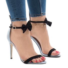 Blå mocka sandaler högklacka JZ-6334