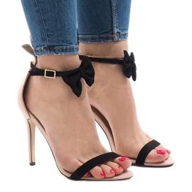 Rosa suede sandaler högklackat båge JZ-6334