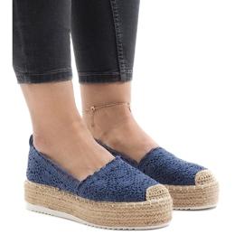 Blå sneakers espadrilles på plattform 7801-P