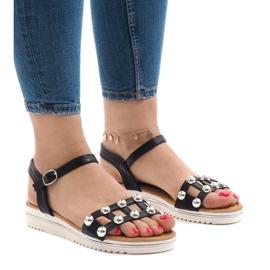 Svart kil sandaler med ett elastiskt band 35-128