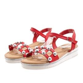 Röd kil sandaler med elastiskt band 35-128