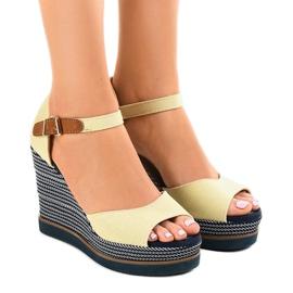 Brun Beige sandaler på kil 9079 espadrilles