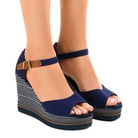 Marinblå Mörkblå sandaler på kil 9079 espadrilles