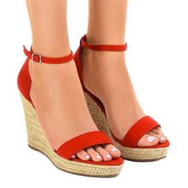 Röda sandaler på kil BD342 espadrilles