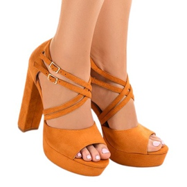 Apelsin Orange sandaler på mocka stilett D09