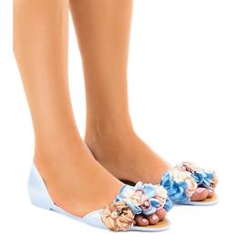 Blå meliski sandaler med AE20 blommor