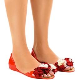 Röd meliski sandaler med AE20 blommor