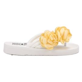 SHELOVET Lätta flip-flops med blommor vit