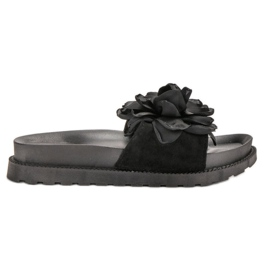 Queen Vivi svart Suede Flip Flops With Flowers