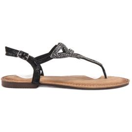 Queen Vivi svart Platta sandaler kvinnor