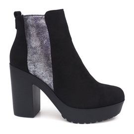 Svart Suede Leather Boots RBS-8 Black