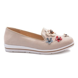 Brun Beige slip-on Multi Flower wedge heels