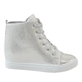 Grå Silver sneakers på kil 29333-2