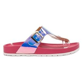 Ideal Shoes rosa Flip-flops med Holo Effect