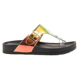 Ideal Shoes svart Flip-flops med Holo Effect