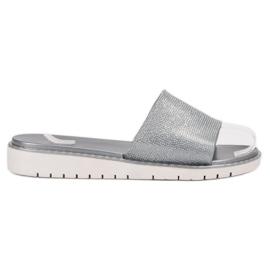 Grå Fashionable Glossy Flip Flops