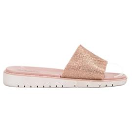 Brun Fashionable Glossy Flip Flops