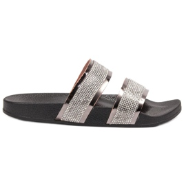 Ideal Shoes grå Kvinnors tofflor med zirkoner