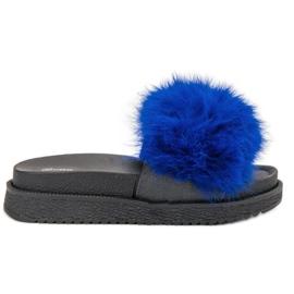 SHELOVET Tofflor Med Fur blå