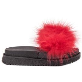 SHELOVET Tofflor Med Fur röd