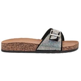 Marquiz svart Glänsande flip-flops med en spänne