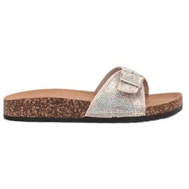 Marquiz brun Glänsande flip-flops med en spänne
