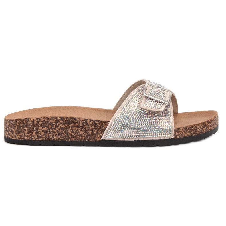 Marquiz Glänsande flip-flops med en spänne brun