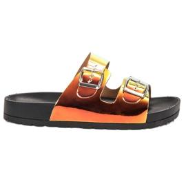Ideal Shoes gul Tofflor Med Holo Spänne