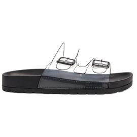Ideal Shoes svart Genomskinliga flikar Se spänne